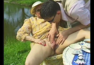 Grandmother slut pulverized near the..