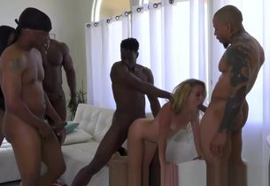 Platinum-blonde honey gets group-fucked