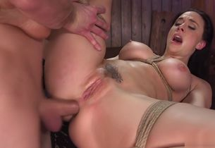 Big-boobed honey dt and ass-fuck pounded