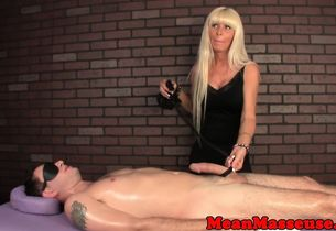 Mature massagist masturbating during..