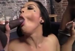 Mistress Inhales Dark-hued Jizz-shotguns