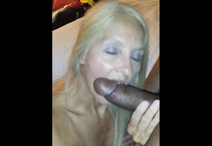 Solid Big black cock in her facehole..