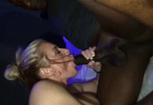 Cougar gives messy head to ebony dude