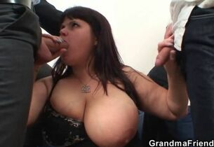 Heavy special adult dame swallows one..