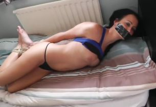 Brit damsel ball-gagged