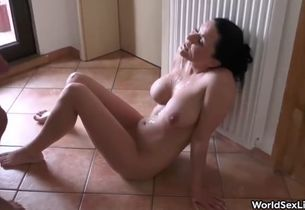First-timer black-haired cougar romped..