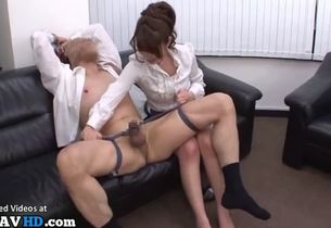Chinese rude office nymph enjoys  romp